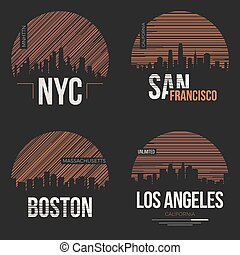 Set of t-shirt designs with us cities silhouettes