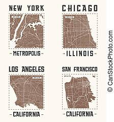 Set of US cities vintage t-shirt designs.Vector illustration.