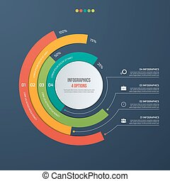 Circle informative infographic design with 4 options. Vector...