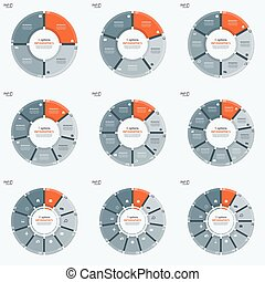 Set of vector circle chart infographic templates with 4-12...