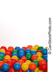 Lots of colored balls on white background