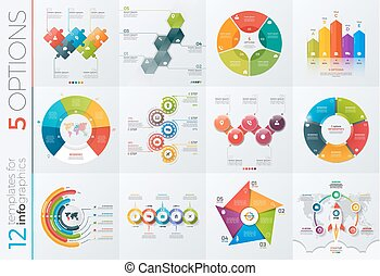 Collection of 12 vector templates for infographics with 5...