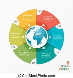 Circle chart infographic template with globe 6 options for...