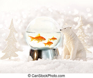 Snow globe in winter scene - Snow globe with fish in magical...