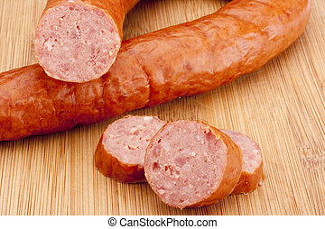 Smoked sausage - Fatty home smoked sausage on the kitchen...