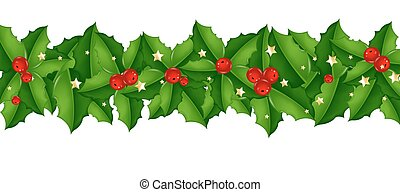Xmas Border With Holly Berry
