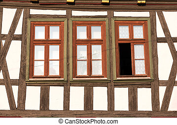 Windows of half timbered house - Windows of a traditional...