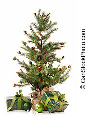 Little christmas tree with gifts on white
