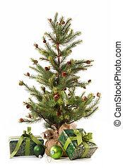 禮物, 很少, 樹, 白色, 聖誕節