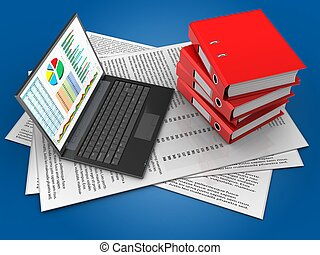 3d binder folders - 3d illustration of papers and personal...