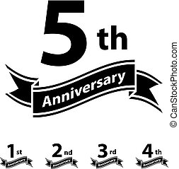 anniversary ribbon number 1 2 3 4 5 - illustration for the...