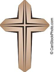 wooden christian cross - illustration for the web