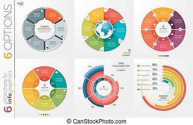 Collection of 6 vector circle chart templates 6 options. -...