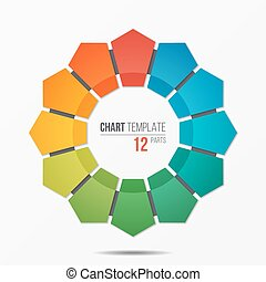 Polygonal circle chart infographic template with 12 parts,...