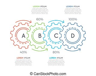 Thin line business infographic template with gears cogwheels...
