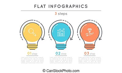 Flat style 3 steps timeline infographic template. Thin line...