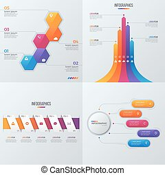 Collection of vector templates for infographics with 5...