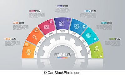 Vector circle chart template for infographics 7 options. -...