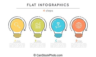 Flat style 4 steps timeline infographic template. Thin line...