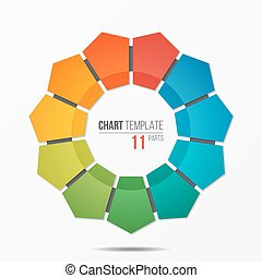 Polygonal circle chart infographic template with 11 parts,...