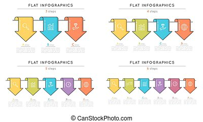 Set of flat style timeline infographic templates with...