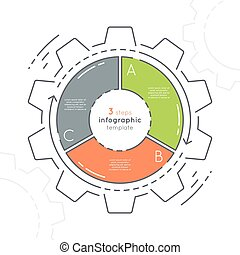 Gear shaped flat style infographic template with 3 steps....