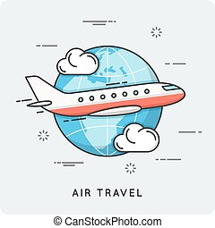 Air travel. Thin line concept. Vector illustration
