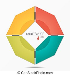 Polygonal circle chart infographic template with 4 parts,...