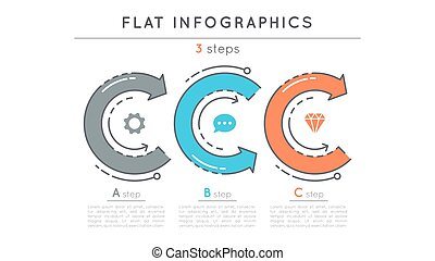 Flat style 3 steps timeline infographic template.