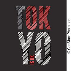Tokyo tee print. T-shirt design graphics stamp label typography.
