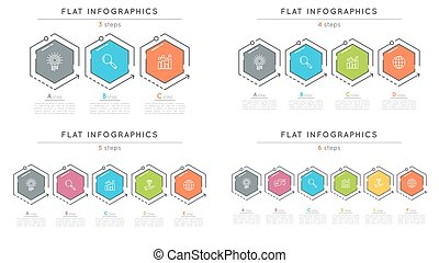 Set of flat style 3-6 steps timeline infographic templates....