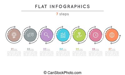 Flat style 7 steps timeline infographic template. Thin line...