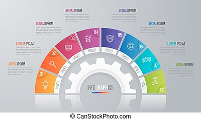Vector circle chart template for infographics 8 options. -...