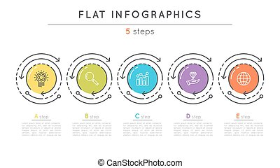 Flat style 5 steps timeline infographic template. Thin line...