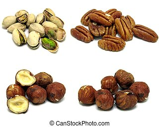 Pistachio Pecan Hazel nuts - A selection of 4 images of...