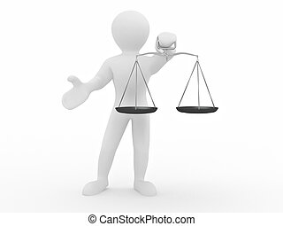 Man with scale Symbol of justice 3d