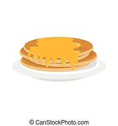 Plate of pancakes with honey icon in flat style vector illustration for design