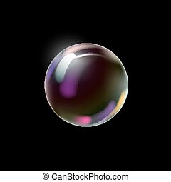 Colorful soap bubble on a dark background.