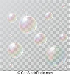Realistic soap bubbles with rainbow reflection
