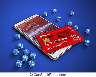 3d hex data - 3d illustration of white phone over blue...