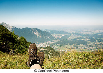 relaxing on top of the mountain