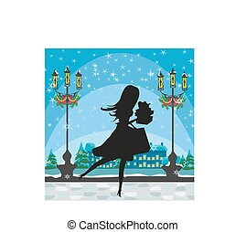 Christmas shopping - winter sale card