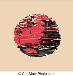 中国語, 祝祭, mid-autumn, -, 年, 新しい, アイコン