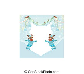Christmas reindeer with scarf skates on ice - abstract frame