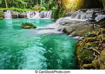 Deep forest Waterfall. - Deep forest Waterfall (landscape,...