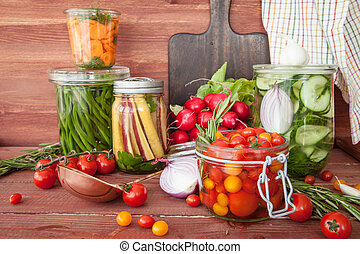 Pickling vegetables with rosemary - Pickling fresh...