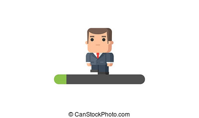 Businessman Walking and Holding Cup Loading Concept. Motion...