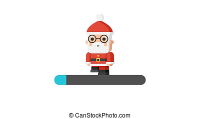 Santa Claus Walking Loading Concept. Motion Graphics. Alpha...