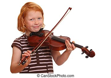 Redhaired girl plays violin