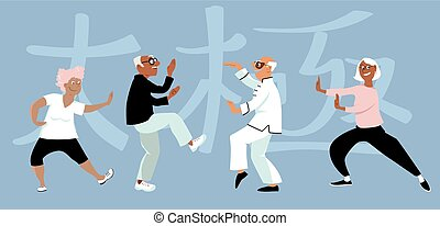 Tai Chi group - Diverse group of senior citizens doing...